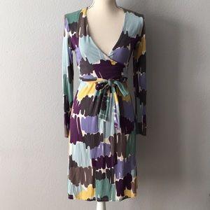 Boden Elena Fixed Wrap Dress Abstract Midi Size 6
